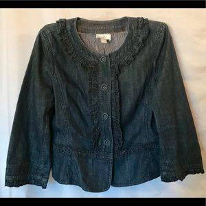Loft Dark Denim Cropped Jacket with frill detail